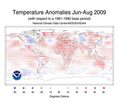 temp anomalies summer 2009
